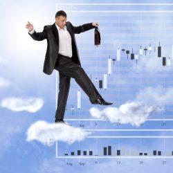 Man tiptoeing on clouds