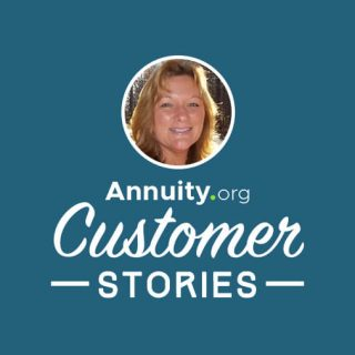 Banner for Annuity.org Customer Stories featuring Lisa Faulkner