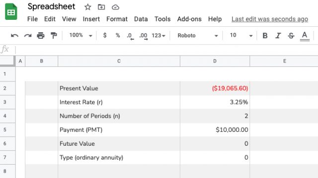Calculating the present value of an annuity in a spreadsheet