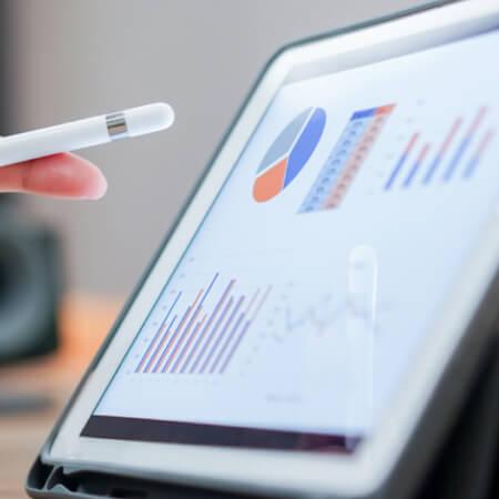 Investing portfolio on tablet