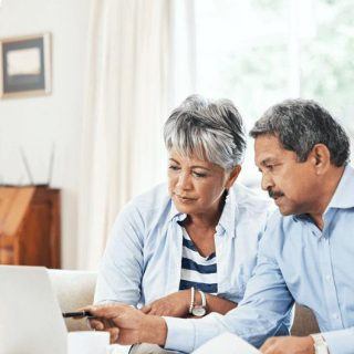 Couple planning retirement together