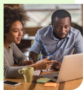 Couple viewing financial resources