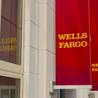 Wells Fargo sign on side of building
