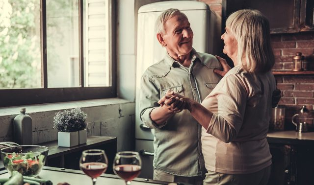 Elderly retired couple enjoying time together