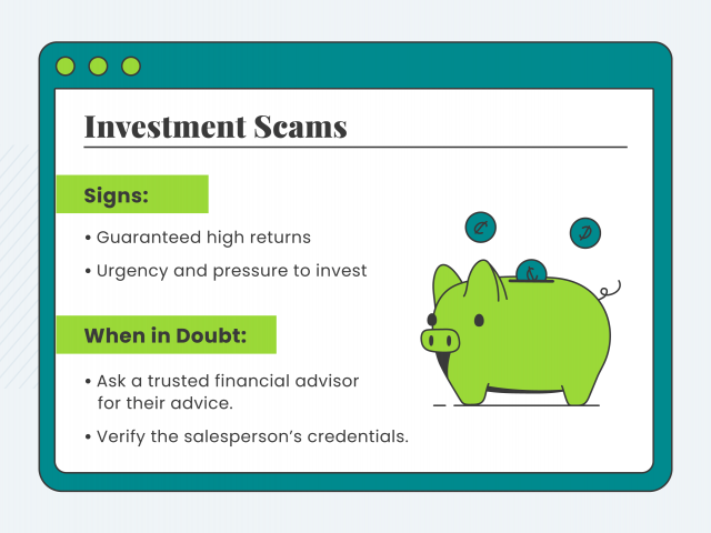 Graphic explaining investment scams