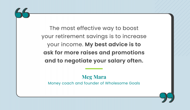 Retirement quote by Meg Mara, founder of Wholesome Goals