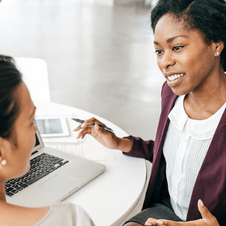 Woman meets with financial advisor